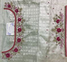Sudhasri hemaswardrobe Kids Blouse Designs, Simple Blouse Designs, Fancy Blouse Designs, Blouse Neck Designs, Border Embroidery Designs, Kurti Embroidery Design, Wedding Saree Blouse Designs, Maggam Work Designs, Designer Blouse Patterns