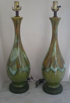 Mid Century Drip Glaze Lamp / PAIR by GreenZebre on Etsy, $175.00