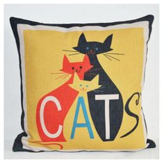 Pop art style cat decorative pillows for couch 18 inch animal couch pillow