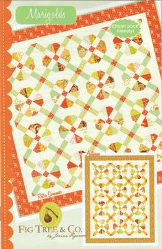 This is the Marigolds quit pattern from Fig Tree Quilts.  Available from Fig Tree site or Calico Cottage.  Hollyhill Quilt Shoppe has a new kit featuring this pattern and Baby Jane fabric line.