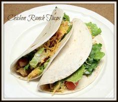 Slow cooker Chicken Ranch Tacos (use homemade taco and ranch seasonings) Crock Pot Tacos, Crock Pot Slow Cooker, Crock Pot Cooking, Slow Cooker Chicken, Slow Cooker Recipes, Crockpot Recipes, Chicken Recipes, Healthy Recipes, Tacos Crockpot