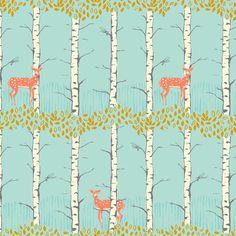 Wunderschöner Baumwollstoff von Sarah Watts aus der Serie Timber & Leaf für Blend.