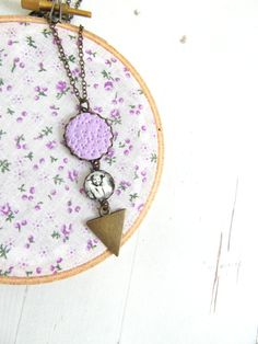 lavender purple long pendant necklace  pipi necklace by ruthreizin, $38.00
