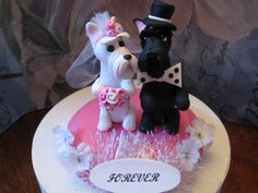 Sultry Scottish Terrier dog Bride and Groom Wedding Cake Topper, Anniversary, Shower, Vow renewal Cake topper