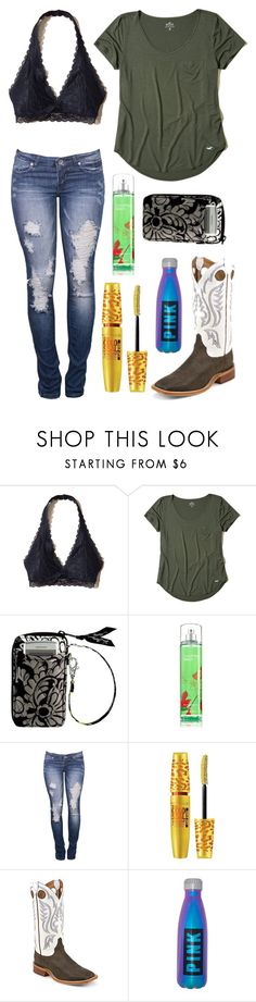 """:D"" by im-a-jeans-and-boots-kinda-girl ❤ liked on Polyvore featuring Hollister Co., Vera Bradley, Maybelline and Justin Boots"