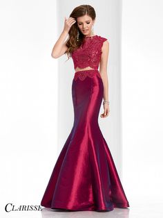 Clarisse Prom Dress 3148. Two piece stretch taffeta mermaid dress with beaded lace and sheer back. COLOR: Marsala, Navy SIZE: 00-20 Get yours today by searching for a Clarisse retailer at the link below!  http://clarisse.com/locator/index.php