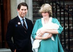 The Prince and Princess of Wales with a newborn Prince William outside the Lindo Wing of St. Mary