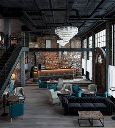 Take a look at this amazing home interior design trends and how they fit perfect. - Take a look at this amazing home interior design trends and how they fit perfectly into your dining - Industrial Bedroom Design, Modern Industrial Decor, Industrial Farmhouse, Industrial Interiors, Urban Industrial, Modern Decor, Industrial Lighting, Vintage Lighting, Industrial Wallpaper