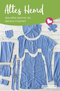 Alte Hemden weiter nutzen An old shirt is much too good for the clothing collection, because it can be upcycled into a children's dress, a pillow case or a bread bag, for example. Diy Fashion, Fashion Dresses, Old Shirts, Shirt Refashion, Recycled Fashion, Diy Clothes, Clothes Storage, Dress Patterns, Clothes Patterns