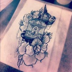 bird cage and roses tattoo design