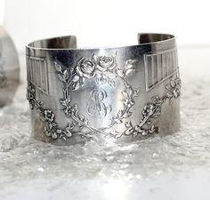 ❥ Antique French Karen Lindner Designs Silver Cuff B