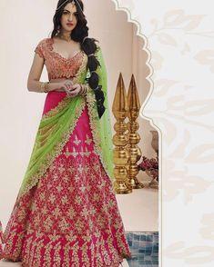 Gorgeous Pink and Green Bridal Wedding Wear Lehenga Choli Blouse - Silk, Lehenga - Silk, Dupatta - Net Max Length : Waist : 42 Girls And Women Lehenga Choli For Ceremoney, Wedding, Ethnic Etc. Pink Lehenga, Bridal Lehenga Choli, Indian Lehenga, Lehenga Saree, Anarkali Dress, Pakistani, Lehenga Indien, Party Wear Lehenga, Lehenga Choli Online