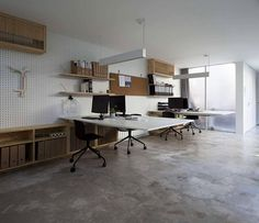 Floating Desks and great idea for an unfinished wall to hang things from