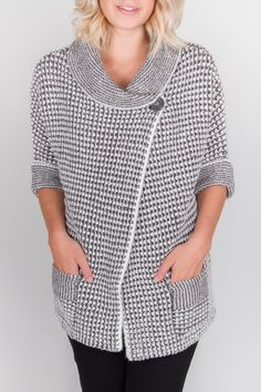 A perfect chunky knit, great over a tank or even a long sleeved tee. $92.