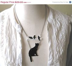 Black Cat and Birds Sale Christmas In July Lucky by whatanovelidea