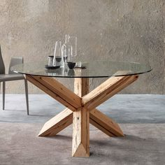 Design dining table made with solid wood and glass top. Round table suitable for the living room, with a Particular That structure enhances the design Round Wood Table, Wood Table Legs, Oak Table, Cheap Dining Tables, Wooden Dining Tables, Glass Dining Table, Coffee Shop Furniture, Glass Furniture, Dining Room Furniture
