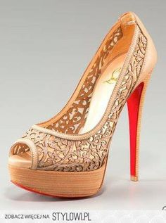 tan lace open toe pumps