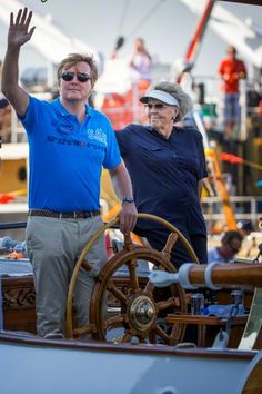 King Willem-Alexander, Princess Beatrix, sail on the Groene Draeck during Sail 2015 in Amsterdam, The Netherlands, 22 August 2015