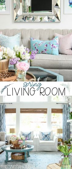 room decor Spring Living Room Tour Beautiful pastels and florals showcased in this spring living room from The Happy Housie. Funky Home Decor, Blue Home Decor, Spring Home Decor, Spring Decorations, Coastal Decor, Urban Barn, Country Farmhouse Decor, Cottage Farmhouse, Farmhouse Decor