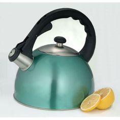 Creative Home Satin Splendor 2.8 qt. Stainless Steel Tea Kettle in Metallic Aqua