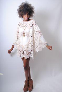 Boémia Manga sino dos anos 70 vestido de renda estilo cor de marfim -  /  Boho BELL SLEEVE 70s DRESS style ivory lace -