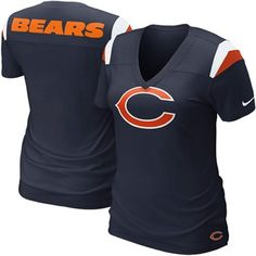 Nike Chicago Bears Women's Fashion Football Premium T-Shirt - Navy Blue $40
