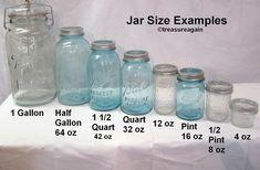 Ball Mason Jar Sizes Comparison to do when bored crafts jar crafts crafts Vintage Mason Jars, Blue Mason Jars, Mason Jar Flowers, Kerr Mason Jars, Vintage Dishes, Vintage Glassware, Diy Flowers, Vintage Kitchen, Mason Jar Projects