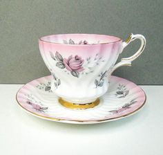 Queen Anne pink teacup tea cup saucer with pink roses grey gray leaves - Footed English rose tea set with gold trim