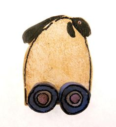 Primitive Painted Wooden Pull Toy Sheep Pin by TimesNotForgotten