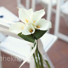 Ceremony - Simple bunches of white calla lilies marked both sides of the aisle.