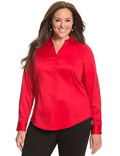 With an improved fit and fresh style details, The New Perfect Shirt offers a timeless silhouette with striped cuffs for a pop of fashionable contrast. Crisp cotton sateen is your answer to anytime wear, fitted with contoured seaming to hug feminine curves. Button-front closure, pointed collar and double-button cuffs complete this wardrobe classic. lanebryant.com