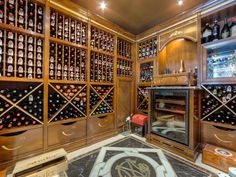 Wine Cellar like drawers at bottom, then diamonds, then shelf and singles above?
