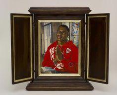 Kehinde Wiley, After Memling's Portrait of Maarten van Nieuwenhove, 2013, oil on wood panel © Kehinde Wiley, photograph Max Yawney and Roberts & Tilton, Culver City, California