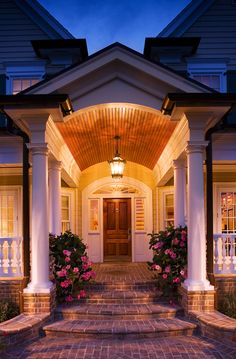 Love the entry barrel ceiling entry, porch ceiling, brick steps, brick walk Barrel Ceiling Entry, Porch Ceiling, Porch Roof, Farmhouse Design, Farmhouse Style, Brick Steps, Brick Walkway, Door Steps, Front Porch Steps