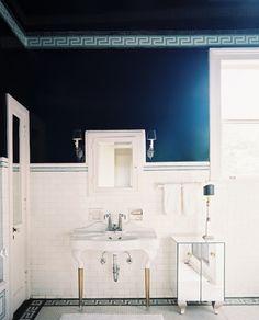 Lonny Magazine: Caroline Robert - Elegant navy blue & white bathroom with glossy white porcelain 2 leg ...