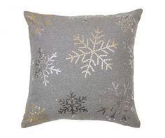 Perna decorativa Snowflakes Grey 45x45 cm