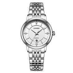 LONGBO Womens Luxury Silver Stainless Steel Band Business Watches Waterproof Auto Date Calendar Analog Quartz Wristwatch Rhinestone Crystal Accented White Dial Couple Dress Watch For Lady >>> Continue to the product at the image link.Note:It is affiliate link to Amazon.