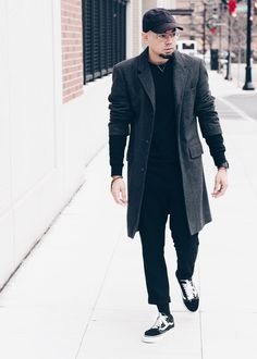 All Black Distressed Sweater + Oversized Overcoat