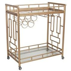The Perfect Bar Cart by Social Society! Wine class hanging storage AND wine bottle storage.