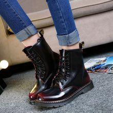 De cuero de estilo británico mujeres Martins Botas de trabajo de la motocicleta militar botines con cordones zapatos otoño invierno para mujer Botas femeninas(China (Mainland))