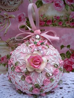 Shabby Pink Sugared Christmas Ornament Venise Lace Pink Roses Pearls | eBay