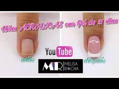 Como realizar una aplicacion de ACRILICO con Gel de 21 dias en uñas ESCULTURALES - YouTube