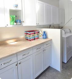 bright white laundry room