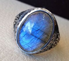 flashy blue labradorite men ring sterling by AbuMariamJewels