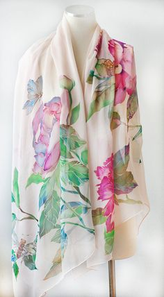 Hand Painted Silk Shawl Veil Silk Wrap Peonies with от SilkWonder
