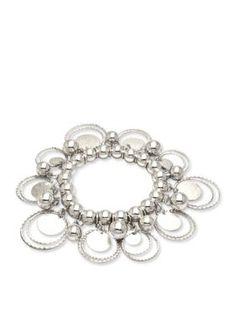 Kim Rogers  Silver-Tone Sensitive Skin Circle Circus Stretch Bracelet