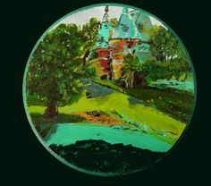Little round painting on board of a place in Normandy. By marjacq.art. Sold.