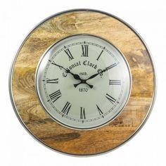 Ashika Wooden Round Wall Clock 12in - Clocks - Prints, Wall Art, Mirrors & Clocks - Homewares Decorative Items, Clocks, Mirrors, Wall Art, Prints, Watches, Mirror, Clock