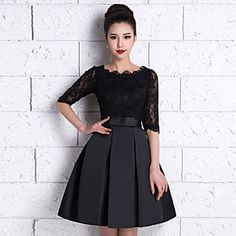 A-Line Scoop Neck Knee Length Lace / Satin Bridesmaid Dress with Lace / Sash / Ribbon by LAN TING Express - SAR ! Catch it now from LightInTheBox > Cheap Bridesmaid Dresses Online, Satin Bridesmaid Dresses, Homecoming Dresses, Lace Bridesmaids, Bridal Dresses, Dress Outfits, Fashion Dresses, Dress Up, Pretty Dresses