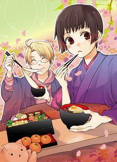 Honda Kiku (Japan) and Afled F.Jones (America) from Hetalia. Let's eat toghether!!!